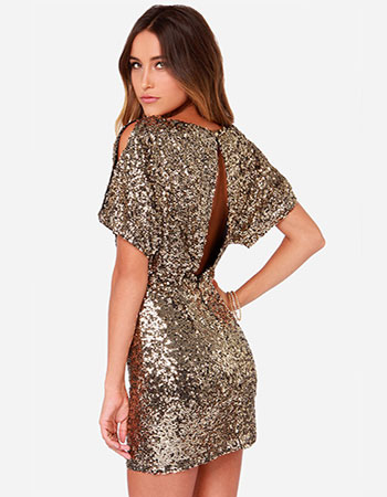 Lovely Short Sequins Dress
