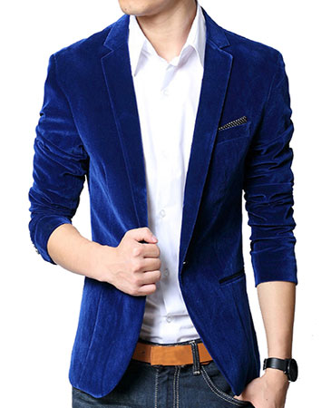 Velvet Blazer With Collared Shirt